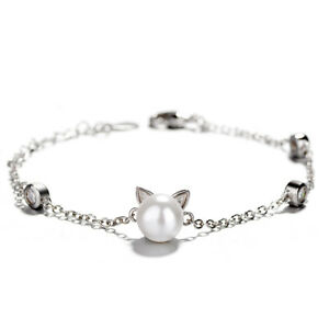 S925 Silver Sterling Plated Kitty Cat Pearl Cubic Zircon Chain Bracelet Gift UK