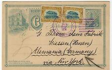 GUATEMALA 1909 Uprated Postal Stationery Card to Germany Via USA
