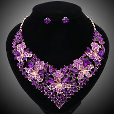Fashion Purple Crystal Jewelry Set For Women Bridal Wedding Necklace Earring Set
