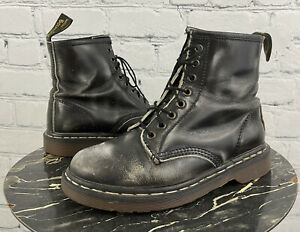 Dr Martens Vintage Black White Burnout 1460 8 Eye Boots UK 6 Made in England