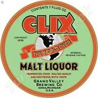 "CLIX MALT LIQUOR 11.75"" ROUND METAL SIGN"