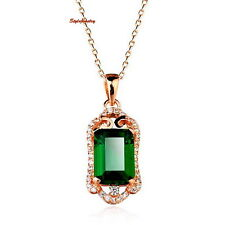 Rose Gold Plated Green Emerald Made with Swarovski Crystal Filigree Necklace N17