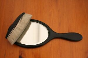 Vintage Ebony Wood Clothes Brush and Hand Mirror