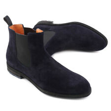 NIB $895 SANTONI Navy Blue Calf Suede Chelsea Ankle Boots US 7 Shoes