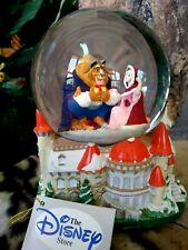 BEAUTY & BEAST WITH BIRDS, ON CASTLE,DISNEY STORE MUSICAL SNOW GLOBE, NEW, w/TAG