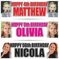 """Personalised Photo Birthday Banner x2 LARGE 36 """"x 11"""" - Any Age, Any Name FADE"""