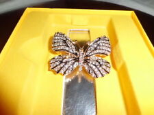 Gold And Black Butterfly Brooch White And Ab Crystal