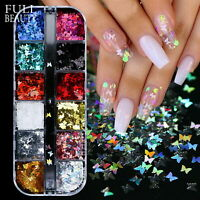 12Grid 3D Laser Butterfly Sequins Holographic Nail Art Flakes Glitter Foil Decor