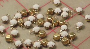 20 Swarovski Crystal Gold Tone Metal Pendant Setting SS24 Chalk White Stone 5mm