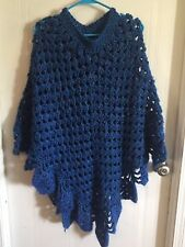 Crochet Blue Poncho Sweater (hand-made) Size Medium