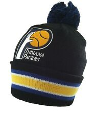 Indiana Pacers Mitchell and Ness Cuffed Pom Knit Beanie Hat Blackout KN45Z
