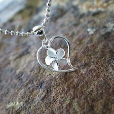 Small Heart Plumeria Flower Hawaiian Genuine 925 Silver Pendant Necklace SP55101