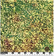 Quilting Tissu Batik Vert Violet Foncé Fleurs Jaune 100% coton FQS   BT37