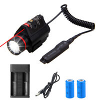 Tactical LED Flashlight Red Dot Laser Sight Scope Rifle Laser Combo Torch Lamp