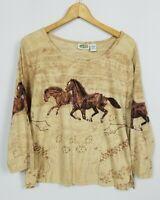 Collections Etc. NWOT Women's Medium Horse 3/4 Sleeve Western Knit Shirt