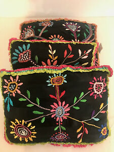 """3 VINTAGE EMBROIDERED PILLOWS, EXCELLENT CONDITION! SZ 13"""" X 16"""", AMAZING WORK!"""