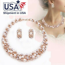 Pearl Jewelry Sets Wedding Pearls Crystal Necklace Earring Set Elegant Fashion