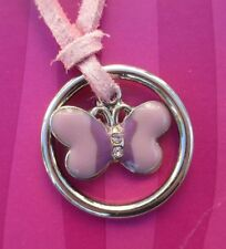 cc Pink suede Butterfly pendant NECKLACE claire's jewelry
