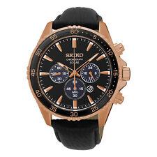 *BRAND NEW* Seiko Men's Rose Gold Tone Steel Case Black Dial   Watch SSC448