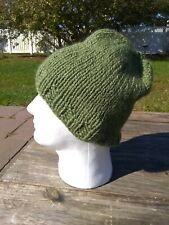 Soft Mens Beanie Hat Alpaca Wool Cap Hand Knitted Slouch Solid Green Made in USA