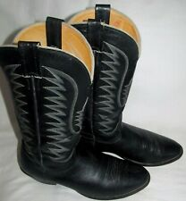 Vintage Nocona Black Smooth Ostrich Cowboy Western Boots Mens Size 12 D 6901