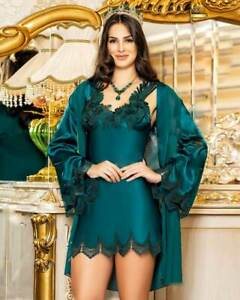 Women Satin and Lace Nightdress with Robe       European Products
