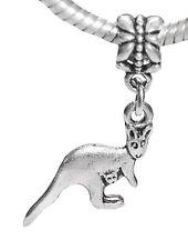 Kangaroo Australia Animal Mother Baby Dangle Charm fits European Bead Bracelets