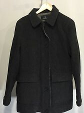 London Fog Wool Coat Single Breasted Size Small Full Zip Button Storm Flap