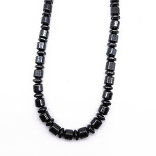 Men Women's Black Magnetic Clasp Hematite Short Cylinder Beads Necklace 18""