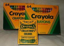 Lot of 3 NOS Vtg 1990 CRAYOLA CRAYONS Limited Ed Sharpener 64 & 8 Count Unused