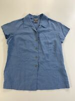 Columbia GRT Womans Med Button Shirt Blue