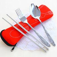 LN_ EG_ 3 Pcs Fork Spoon Chopsticks Travel Stainless Steel Cutlery & Portable