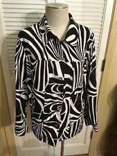 Allison Daley II Button Shirt Blouse Jacket Sz 22W Black & White Zebra Print