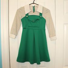 Vintage Child Girls Sears 7 14 Boutique 1970s Green Faux Jumper Dress 10