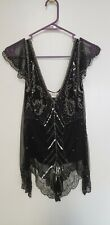 Womens Scala Top, Size XS, Black With Beads