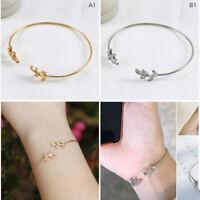 Women Stylish Leaves Cuff Women Bracelet Delicate Leaf Open Bangle Bracelet