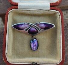 c1900 LIBERTY London QUEENSWAY Secession Art Nouveau silver enamel brooch