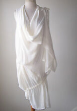 ANN DEMEULEMEESTER Ivory Drape Wrap Tie Tunic Top Dress 40 8