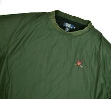 vtg Polo Golf Ralph Lauren Nylon Pullover Jacket Med Green P Wing Cross Crest