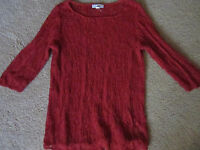 COLDWATER CREEK red scoop-neck tunic SWEATER  L/XL lacey linen/rayon
