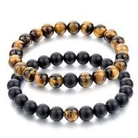 Couple Matte Agate Tiger Eye Stone Bracelet Set Charm Black Agate Reiki Bangle