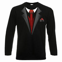 Tuxedo Fancy Dress Stag Party Tux Longsleeve T Shirt Mens Small - 2XL
