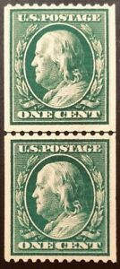 US SC #385 LP, 1 cent MNH, full OG, single line watermark, cat. value $1000-1450