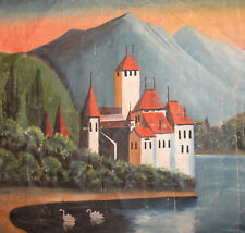 ANTIQUE LANDSCAPE OIL PAINTING LAKE CASTLE