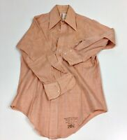 The Arrow Collar Man VTG Unique Dress Shirt Teal III 14 1/2 32 Peach Long Sleeve