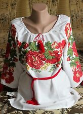 Ukrainian Embroidered women's Shirts Blouse Red Roses Size L