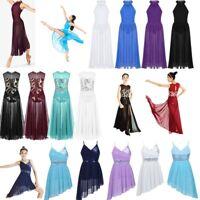 UK Girls Lyrical Dance Dress Latin Ballet Sequined Leotard Maxi Skirt Dancewear