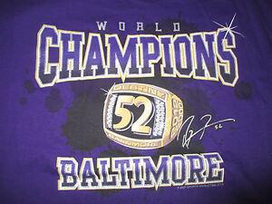 Super Bowl RAY LEWIS No. 52 BALTIMORE RAVENS World Champions (LG) T-Shirt