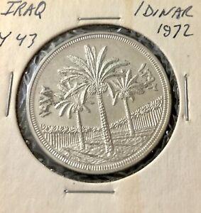 1972 IRAQ Palm Tree 1 Dinar Silver Coin