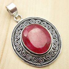 "1.7"" Pendant, Simulated RUBY HANDCRAFTED Silver Plated Jewelry ONLINE STORE"